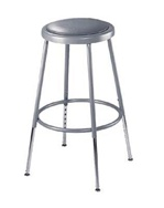 "25-33"" Ht. Adjustable Lab Stool with Grey Padded Seat from National Public Seating"
