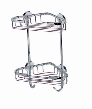 Premium solid brass, chrome plated corner shower caddy with the nie ...