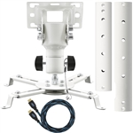Cheetah Mounts APMEW Universal Projector Ceiling Mount Includes an Adjustable Extension Pole and a Twisted Veins 15' HDMI Cable