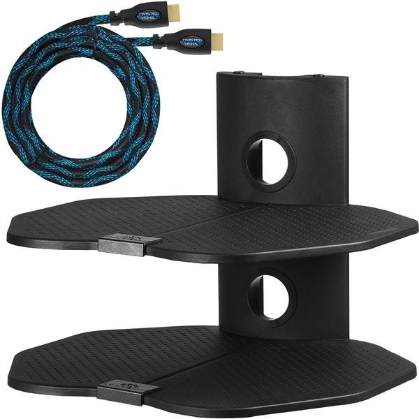 "Cheetah Mounts AS2B 2 Shelf TV Component Wall Mount Shelving Bracket with 18x16"" Shelf, 15' Twisted Veins HDMI Cable and Cable Management for Cable or Satellite Box, DVD Player, Game Station, Receiver, etc., and Compatible with All LCD LED Plasma Flat Scr"