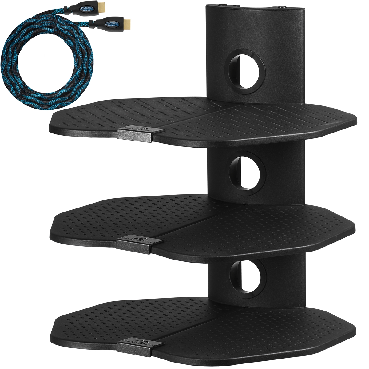 Cheetah Mounts As3b Three 3 Shelf Tv Component Wall Mount Shelving Bracket With 18x16 Shelves And 15 Twisted Veins Hdmi Cable Including