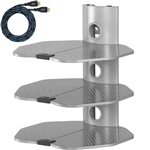"Cheetah Mounts AS3S 3 Shelf TV Component Wall Mount Shelving Bracket with 18x16"" Shelf, 15' Twisted Veins HDMI Cable and Cable Management for Cable or Satellite Box, DVD Player, Game Station, etc. Compatible with all LCD LED Plasma Flat Screen TVs"