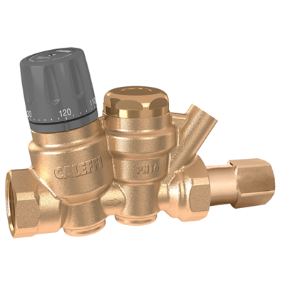 "Caleffi 116 ThermoSetter™ ½"" NPT female (with inlet check valve) Adjustable thermal balancing valve. 116140AC"
