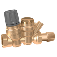 "Caleffi 116 ThermoSetter™ ¾"" NPT female (with inlet check valve & outlet temperature gauge) Adjustable thermal balancing valve. 116151AC"