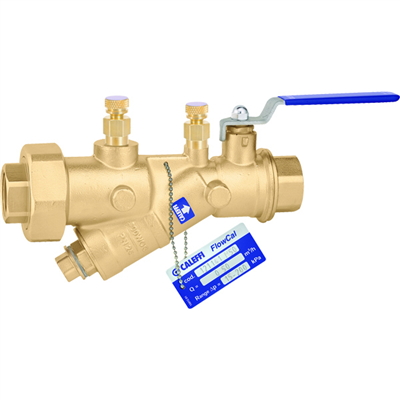 "Caleffi 121 FlowCal™ 1 ¼"" NPT female (with PT test ports) automatic flow balancing valve with integral ball valve. 121371A"