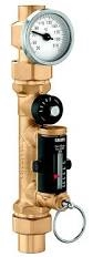 "CALEFFI 1"" sweat Balancing valve with flow meter & temperature gauge. 132658AFC"