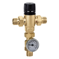 "Caleffi 1"" male Low Lead Mixing Valve With Thermometer 521610AC"