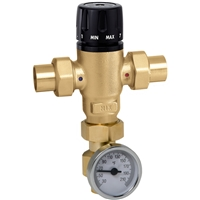 "Caleffi 1"" sweat MixCal Sweat with inline check valve and thermometer 521619AC"