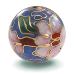 Fancy Dusty Blue Cloisonne Bead