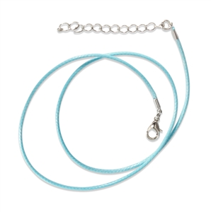 Light Blue Waxed Cotton Cord Necklace