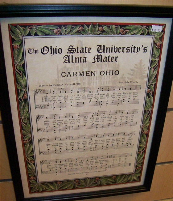 Ohio State Carmen Ohio Music Sheet w/Lyrics Framed