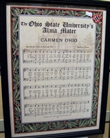 Ohio State Carmen Ohio Music Sheet w/Lyrics Musical Framed