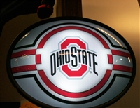 Slimline Illuminated Silver Oval Ohio State Logo Wall Sign