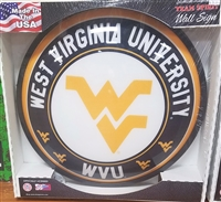 Slimline Illuminated Round West Virginia Mountaineers Wall Sign