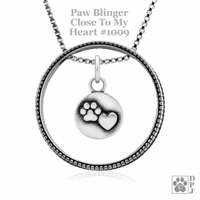Close To My Heart Paw Print Necklace, Enhancer Paw Charm, Paw Heart Charm, Paw Pendant, Paw Print Charm Necklace, Wholesale Paw Print Jewelry, Paw Print Heart Jewelry, Paw Print Heart Necklace, Paw Print Jewelry Made In The USA, Sterling Silver Paw Print