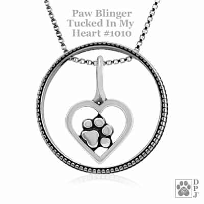 Tucked In My Heart Paw Print Necklace, Enhancer Paw Charm, Paw Heart Charm, Paw Pendant, Paw Print Charm Necklace, Wholesale Paw Print Jewelry, Paw Print Heart Jewelry, Paw Print Heart Necklace, Paw Print Jewelry Made In The USA, Sterling Silver Paw Print