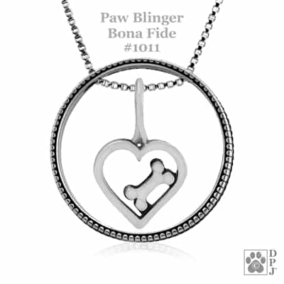 Heart and Dog Bone Pendant w/ Paw Print Enhancer