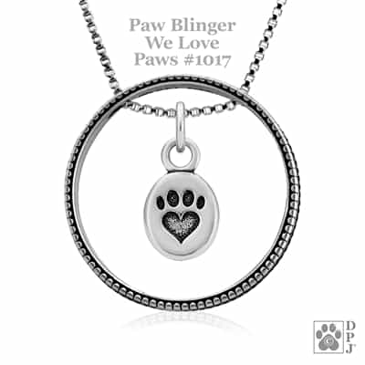 Sterling Silver Paw Blinger Enhancer w/We Love Paws Pendant