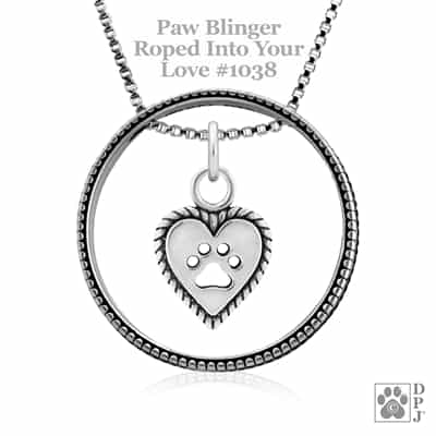 Sterling Silver Paw Blinger Enhancer w/Roped Into Your Love Pendant