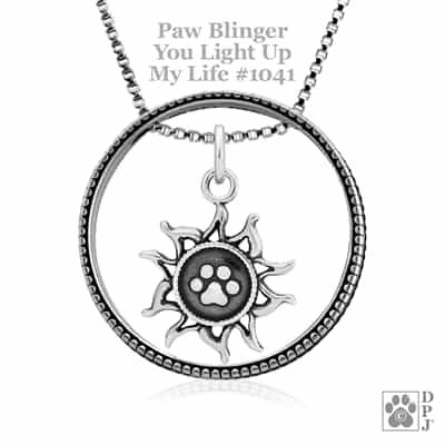 Sterling Silver Paw Blinger Enhancer w/You Light Up My Life Pendant