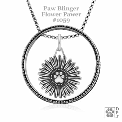 Flower Pawer Necklace, Designer Dog Paw Jewelry, Best Gifts for Dog Lovers