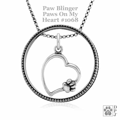 Sterling Silver Paw Blinger Enhancer w/Paws On My Heart Pendant