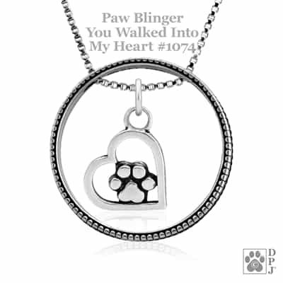 Sterling Silver Paw Blinger Enhancer w/You Walked Into My Heart Pendant