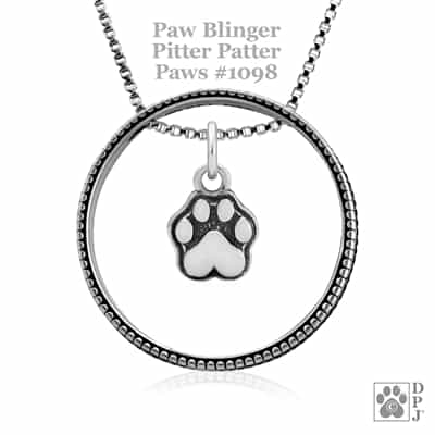 Pitter Patter Paws Paw Print Necklace, Enhancer Paw Charm, Paw Charm, Paw Pendant, Paw Print Charm Necklace, Wholesale Paw Print Jewelry, Paw Print Jewelry, Paw Print Necklace, Paw Print Jewelry Made In The USA, Sterling Silver Paw Print