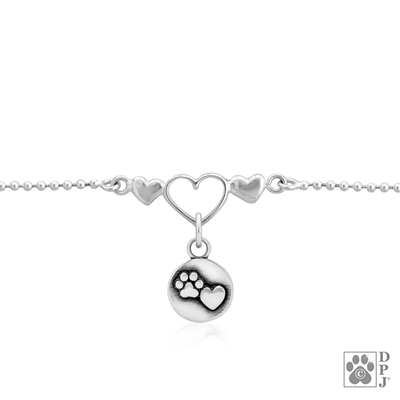 Sterling Silver Heart and Paw Print Ankle Bracelet; Handcrafted Dog Lover Gift