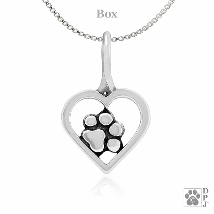 Paw print necklace heart and paw pendant dog jewelry made in usa price 2050 mozeypictures Gallery