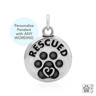Dog Rescue Jewelry, Dog Rescue Pendant, Dog Rescue Charm, Dog Gifts, Rescue Dog Mom Gifts