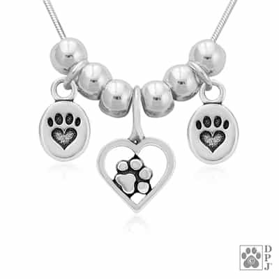 Handcrafted Paw Print Necklace, Dog Mom Necklace with Three Paw Print Charms, Pet Owner Gift