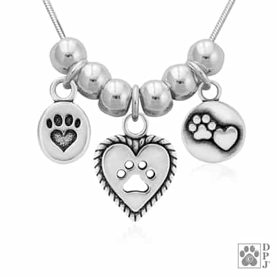 Designer Paw Print and Heart Necklace, Animal Lover Gift