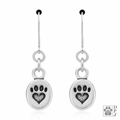 Paw Print Earrings, Heart Earrings, Paw And Heart Earrings, Dog Jewelry, Sterling Silver Paw Earrings, Made In USA Jewelry, Pet Jewelry Earrings, Dog Lovers Gifts, Tiny Paw Print Earrings, Small Dangle Paw Print Earrings, Dog Owners, Cat Owners, Dog Gifts