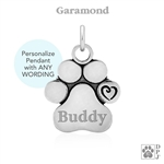 Sterling Silver Personalized Paw Print Pendant with Heart Accent, Custom Gift for Pet Owners