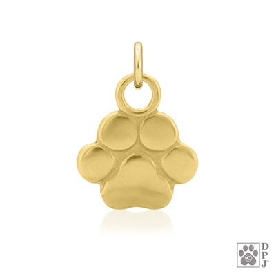 14K Gold Paw Print Pendant, 14K Gold Paw Print Charm, 14K Gold Paw Print Jewelry, 14K Gold Paw Print Necklace, 14K Dog Jewelry, 14K Gold Gifts For Dog Lovers, High End Paw Print Jewelry, Fine Jewelry For Breed Charms, Fine Jewelry For People Who Love Dogs