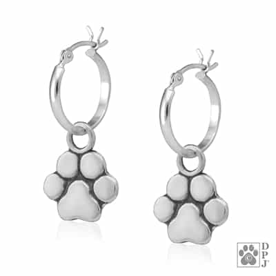 SOLD OUT Sterling Silver Basic Paw Print Hoop Earrings