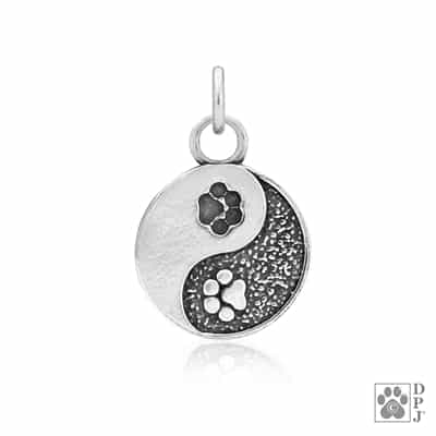 Sterling Silver Yin and Yang Paw Charm