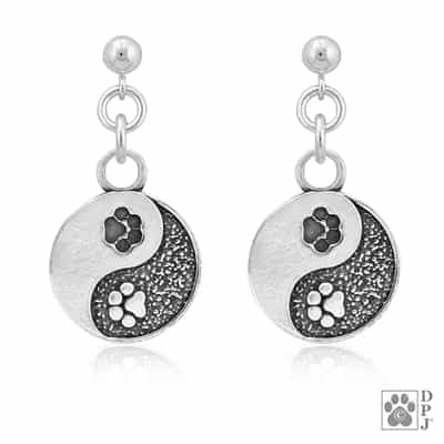 Sterling Silver Yin and Yang Paw Earrings
