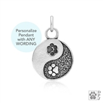 Engraved Sterling Silver Yin and Yang Paw Charm