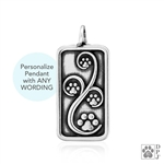 Engraved Sterling Silver Journey Paws Pendant