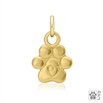 14K Gold Small paw print pendant, Gold paw print charm, 14K gold tiny paw print Charm, High End Paw Print Jewelry, Fine Paw Print Jewelry