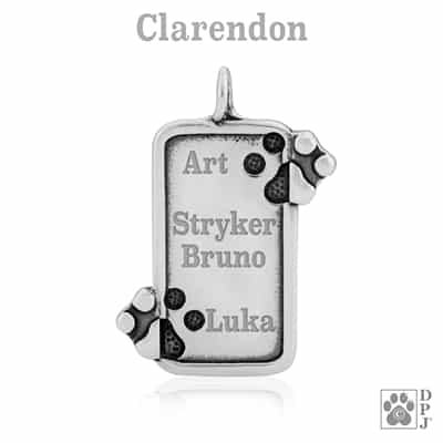 Personalized paw print necklace, engraved paw print necklace