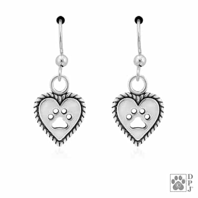 Sterling Silver Roped Into Your Love heart Earrings