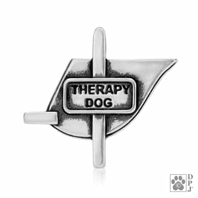 Sterling Silver Therapy Dog Vest, Pendant