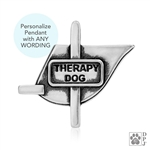 Engraved Sterling Silver Therapy Dog Vest, Pendant -- retired