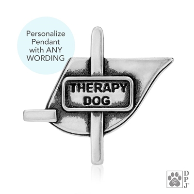 Engraved Sterling Silver Therapy Dog Vest, Pendant