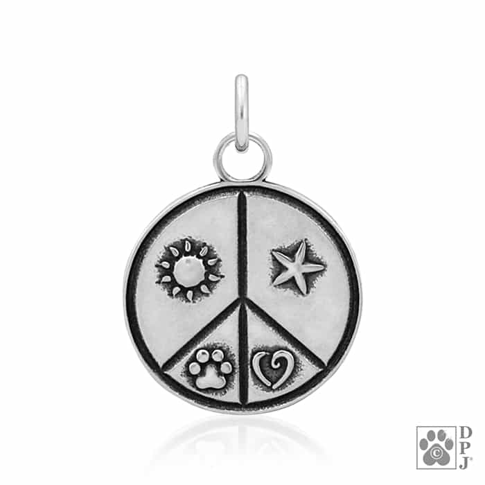 Random Acts Of Kindness Pendant Paw Print Charm Peace Sign Pendant