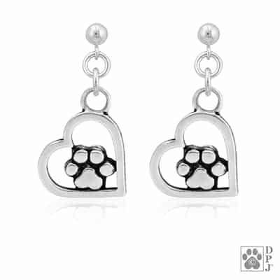 Heart and Paw Print Dangle Earrings, Fine Jewelry for Animal Lovers