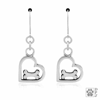 Heart and Bone Dangle Earrings, Handcrafted Dog Lover Gift
